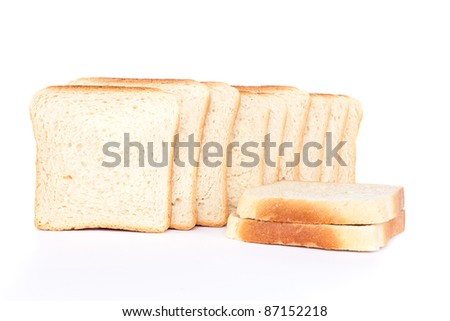fresh butter toast bread, isolated on white background - stock photo