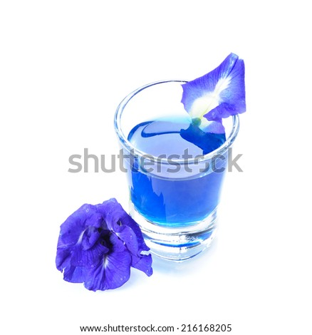 Fresh Butterfly pea flower, Clitoria ternatea on white background