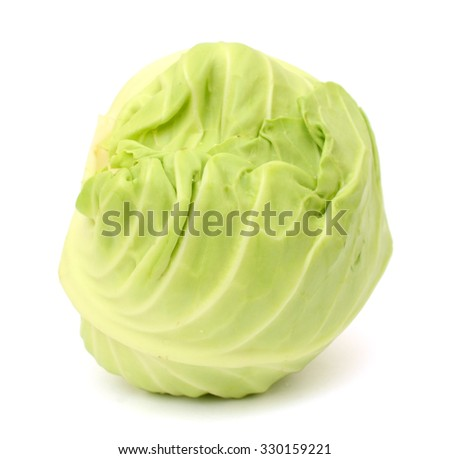 fresh cabbage isolated on white background - stock photo