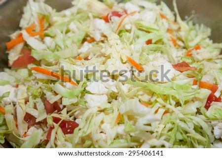 Fresh cabbage salad with selective focus - stock photo