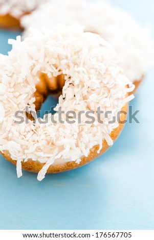 Fresh cake donuts with cocunut topping from the local bakery shop.