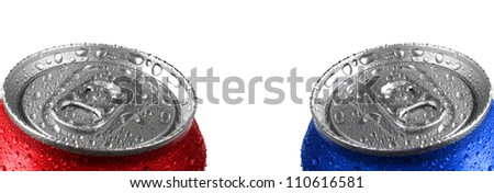 Fresh cans of soda with water drops and red color on white background