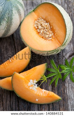 Fresh cantaloupe melons - stock photo