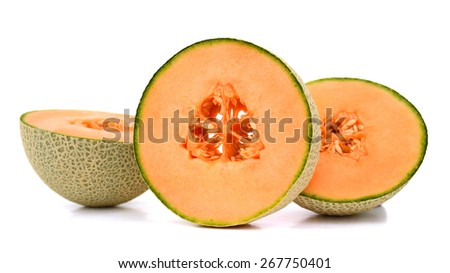 fresh cantaloupe sliced isolated on white  - stock photo