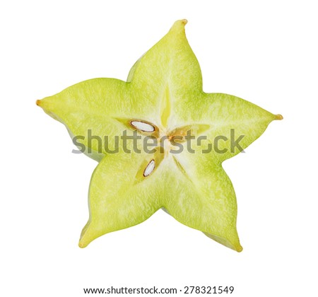 Fresh carambola star fruit slice isolated on white background - stock photo