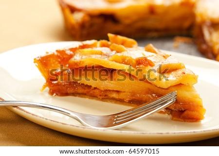 Fresh caramel apple tart slice - stock photo