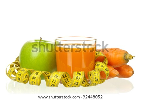 Fresh carrot and apple juice with a measure tape isolated on white background