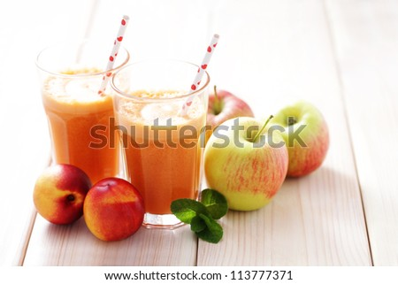 fresh carrot apple and nectarine juice - food and drink