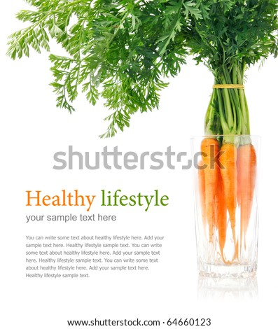 fresh carrot fruits with green leaves in the glass isolated on white background - stock photo