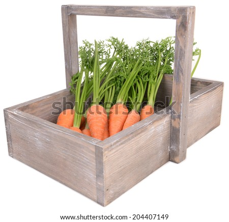 Fresh carrot in crate isolated on white - stock photo