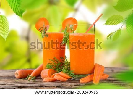 Fresh carrot juice, healthy drinks. - stock photo