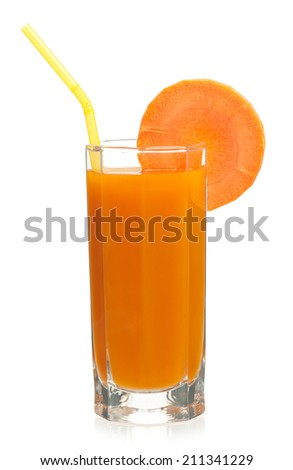 Fresh carrot juice in the glass isolated on white background - stock photo