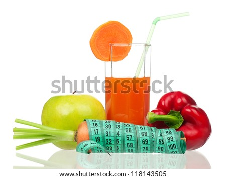 Fresh carrot juice with fresh vegetables isolated on white background
