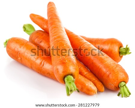 Fresh carrot with green leaves. Isolated on white background - stock photo