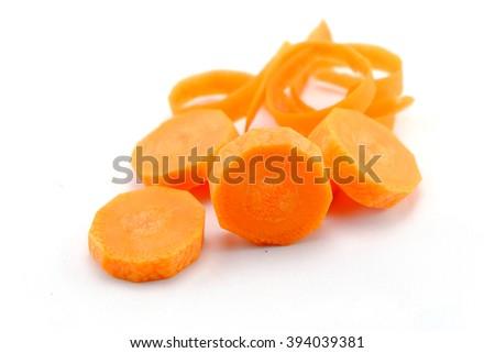 Fresh carrots,carrots, sliced,fresh carrots isolated on white background - stock photo
