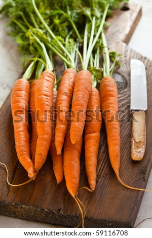 Fresh carrots on a chopping board with a knife - stock photo