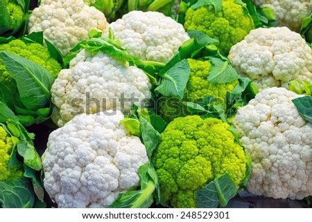 Fresh cauliflower for sale at a market - stock photo