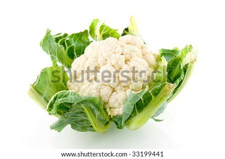Fresh cauliflower isolated on white background - stock photo