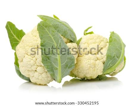 Fresh cauliflower on white background  - stock photo