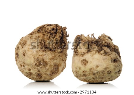 fresh celery root isolated over white background - stock photo