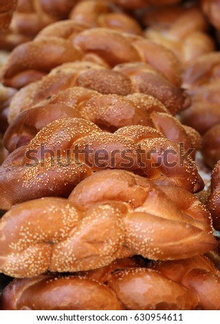 Fresh challah bread for shabbat- selective focus