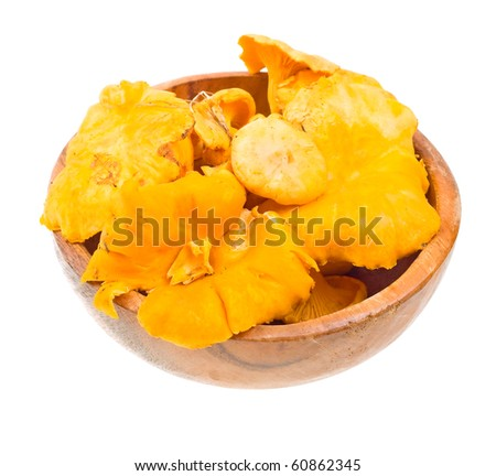 Fresh chanterelle on a wooden plate isolated on white background