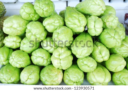 Fresh Chayote vegetables in the market - stock photo