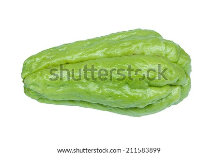 fresh Chayote vegetables isolated on white background  - stock photo