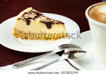 fresh cheese cake with chocolate - stock photo