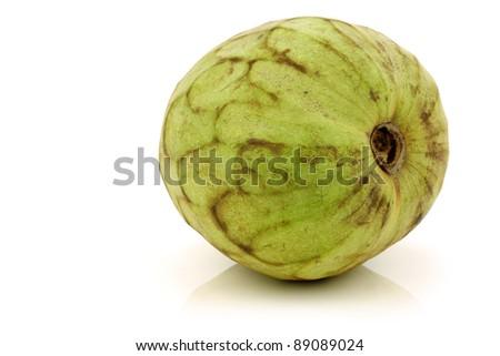 fresh cherimoya fruit (Annona cherimola) on a white background - stock photo