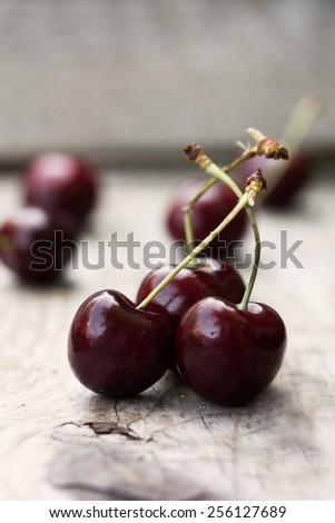 Fresh cherries. - stock photo