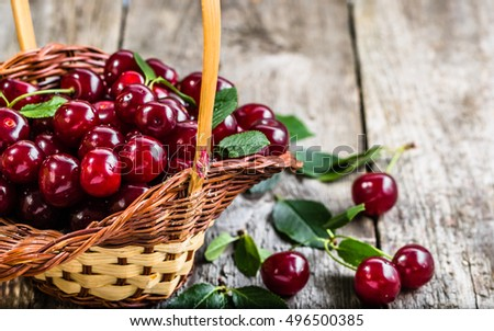 Fresh cherries in the basket, ripe fruits from local market