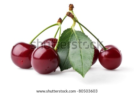 Fresh cherries with leaf isolated on white background - stock photo