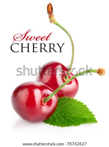 fresh cherry berries with green leaf isolated on white background - stock photo