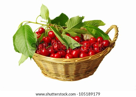 Fresh cherry  in basket.  White background