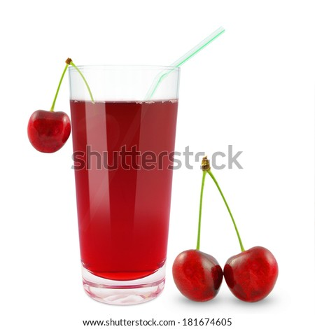 fresh cherry juice on a white background
