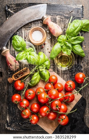 Fresh cherry tomatoes bunch with basil , salt and oil on rustic wooden background, top view.  Italian food cooking ingredients. - stock photo