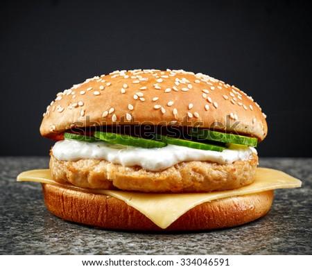 fresh chicken burger on dark background - stock photo