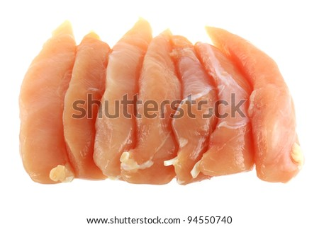 Fresh Chicken Fillet isolated on white - stock photo