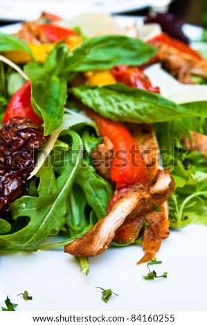 Fresh chicken salad with tomatoes - stock photo
