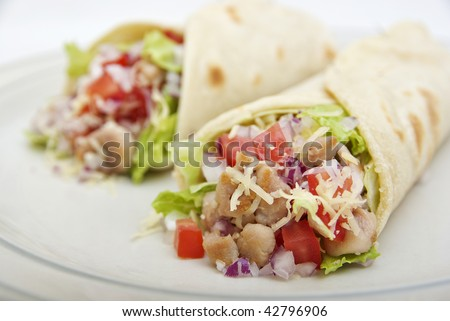 fresh chicken wraps - stock photo