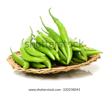 fresh chili on white background - stock photo