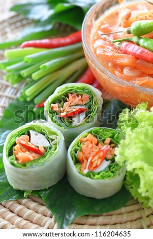 Fresh Chinese Traditional Spring rolls food with vegetable - stock photo