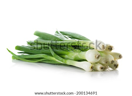 Fresh chives isolated on white background - stock photo