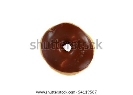 fresh choclate glazed donut isolated on white - stock photo