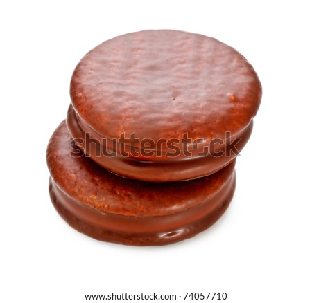 fresh chocolate biscuits isolated on white background