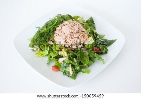fresh chopped tuna salad on a white plate - stock photo