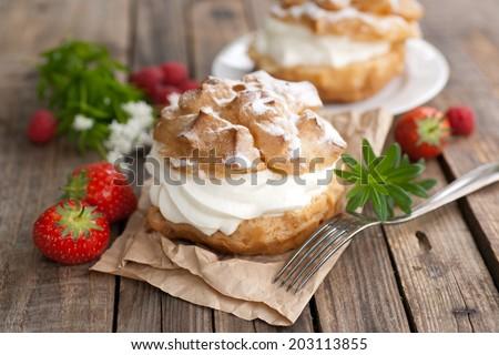 Fresh choux pastry - stock photo