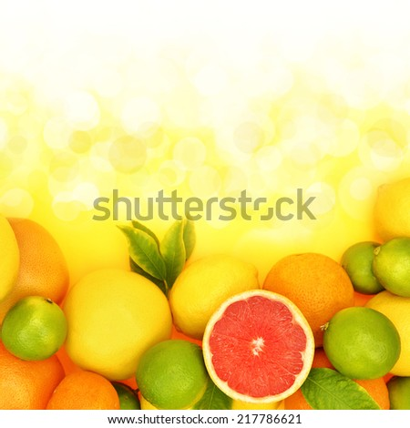 Fresh citrus fruit in shiny background  - stock photo