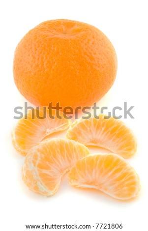 Fresh citrus fruits isolated on white - stock photo